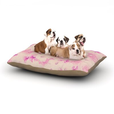 Deepti Munshaw Blush Bouquet Roses Dog Pillow with Fleece Cozy Top Size: Large (50 W x 40 D x 8 H)