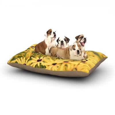 Debbra Obertanec Pantone Yellow Flower Daisy Dog Pillow with Fleece Cozy Top Size: Small (40 W x 30 D x 8 H)