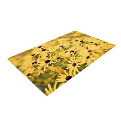 Debbra Obertanec Pantone Yellow Flower Daisy Yellow Area Rug Rug Size: 2 x 3