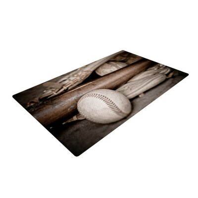 Debbra Obertanec Play Ball Baseball Brown Area Rug Rug Size: 2 x 3