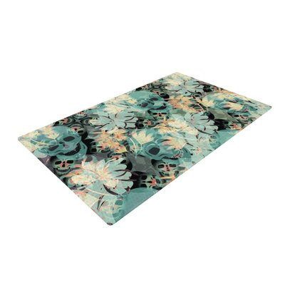 Akwaflorell Dead's Head Party Blue/Black Area Rug Rug Size: 2' x 3'