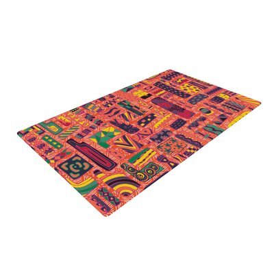 Akwaflorell Squares Red Area Rug Rug Size: 2 x 3