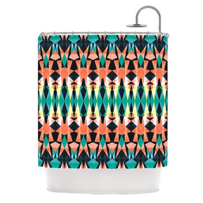 Triangle Visions Shower Curtain Color: Orange/Blue
