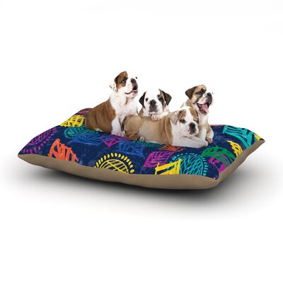 Emine Ortega African Beat Dog Pillow with Fleece Cozy Top Size: Large (50 W x 40 D x 8 H), Color: Blue