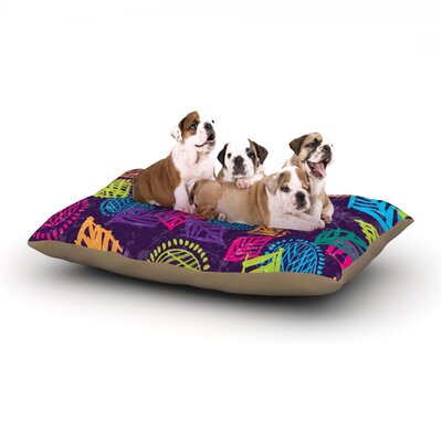 Emine Ortega African Beat Dog Pillow with Fleece Cozy Top Size: Large (50 W x 40 D x 8 H), Color: Purple
