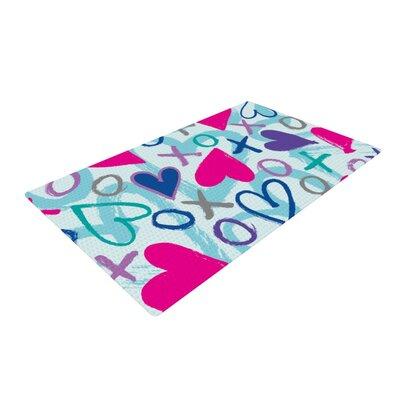 Emine Ortega Hearts a Flutter Blue/Pink Area Rug Rug Size: 4 x 6