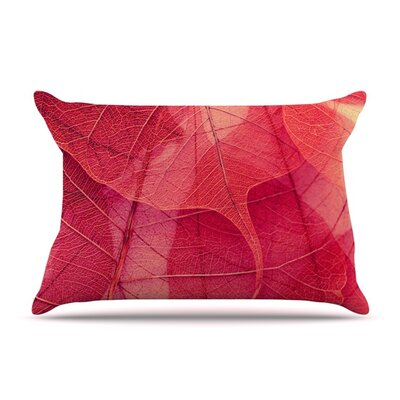 Delicate Leaves by Ingrid Beddoes Featherweight Pillow Sham Size: King, Fabric: Woven Polyester