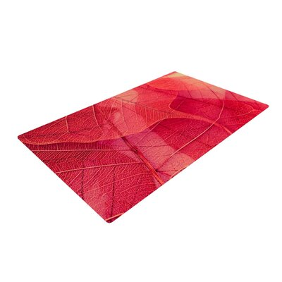 Ingrid Beddoes Delicate Leaves Red Area Rug