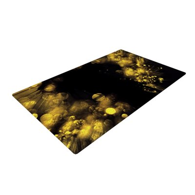 Ingrid Beddoes Moonlight Dandelion Black/Yellow Area Rug Rug Size: 2 x 3