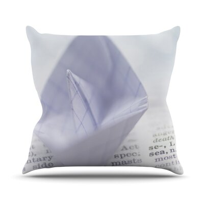 At Sea by Ingrid Beddoes Paper Boat Throw Pillow Size: 26 H x 26 W x 5 D