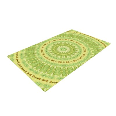 Iris Lehnhardt Wheel of Spring Circle Green Area Rug Rug Size: 2 x 3