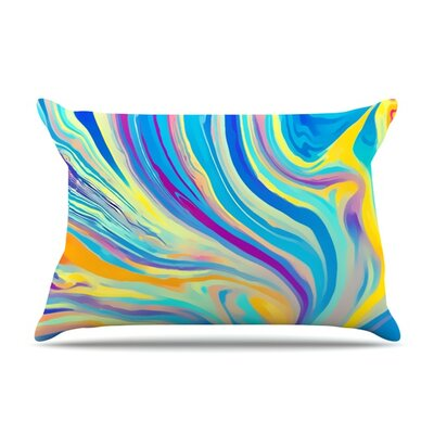 Rainbow Swirl by Ingrid Beddoes Featherweight Pillow Sham Size: King, Fabric: Woven Polyester