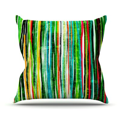 Fancy Stripes by Frederic Levy-Hadida Throw Pillow Size: 20 H x 20 W x 1 D, Color: Green
