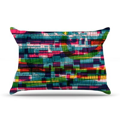 Frederic Levy-Hadida Squares Traffic Green Pillow Case Color: Pastel