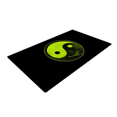 Frederic Levy Hadida Ying Yang Black/Green Area Rug Rug Size: 2 x 3