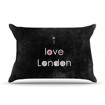 I Love London by Ingrid Beddoes Featherweight Pillow Sham Size: Queen, Fabric: Woven Polyester