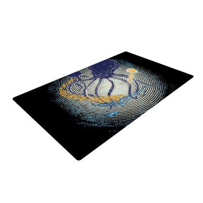 Frederic Levy-Hadida Tentacular Trap Octopus Black/Yellow Area Rug Rug Size: 2 x 3