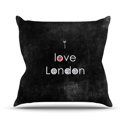 I Love London by Ingrid Beddoes Grundge Throw Pillow Size: 18 H x 18 W x 3 D