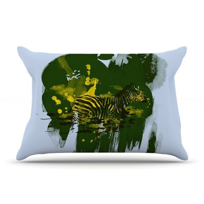 Frederic Levy-Hadida Watercolored Zebra Pillow Case Color: Green