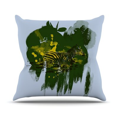 Watercolored by Frederic Levy-Hadida Zebra Throw Pillow Size: 18 H x 18 W x 1 D, Color: Green
