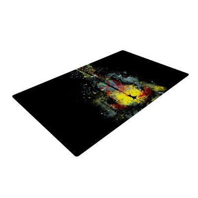 Frederic Levy-Hadida Syphony Black/Yellow Area Rug Rug Size: 2 x 3