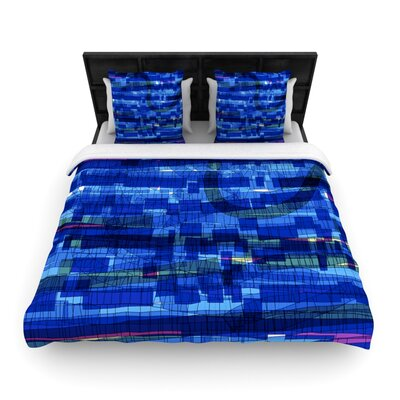 Squares Traffic Woven Comforter Duvet Cover Size: Full/Queen, Color: Blue