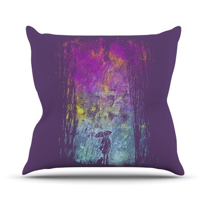 Purple Rain Throw Pillow Size: 18 H x 18 W x 1 D