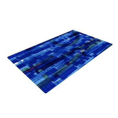 Frederic Levy Hadida Squares Traffic Blue Area Rug
