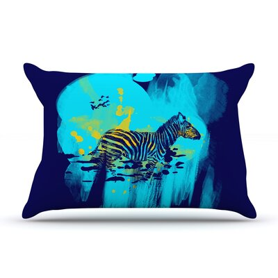 Frederic Levy-Hadida Watercolored Zebra Pillow Case Color: Blue