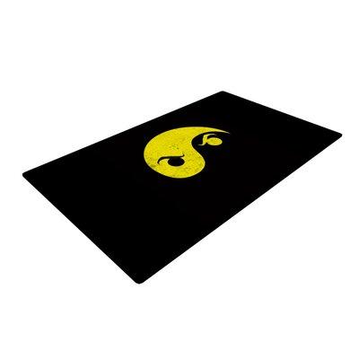 Frederic Levy Hadida Yin Yang Ninja Black/Yellow Area Rug Rug Size: 4 x 6
