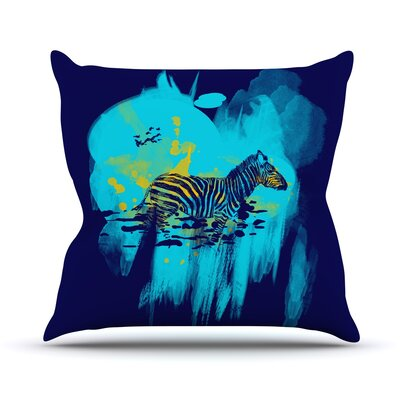 Watercolored by Frederic Levy-Hadida Zebra Throw Pillow Size: 16 H x 16 W x 1 D, Color: Blue