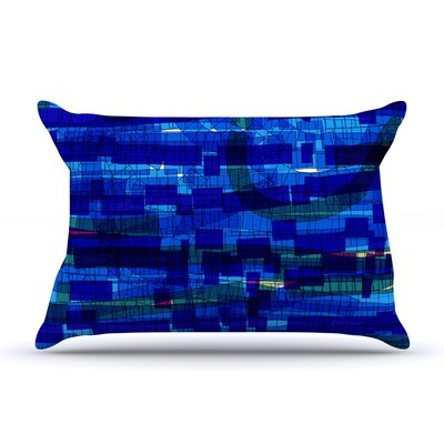 Frederic Levy-Hadida Squares Traffic Green Pillow Case Color: Blue