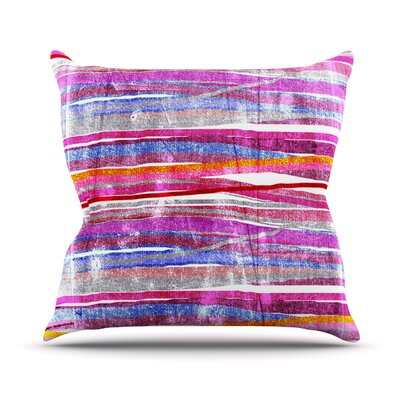 Fancy Stripes by Frederic Levy-Hadida Throw Pillow Size: 16 H x 16 W x 1 D, Color: Pink