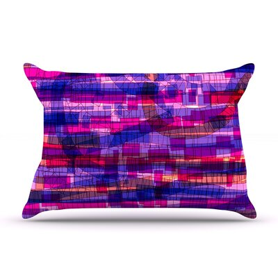 Frederic Levy-Hadida Squares Traffic Green Pillow Case Color: Pink