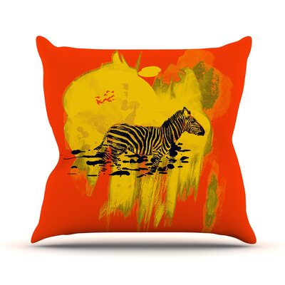 Watercolored by Frederic Levy-Hadida Zebra Throw Pillow Size: 16 H x 16 W x 1 D, Color: Red