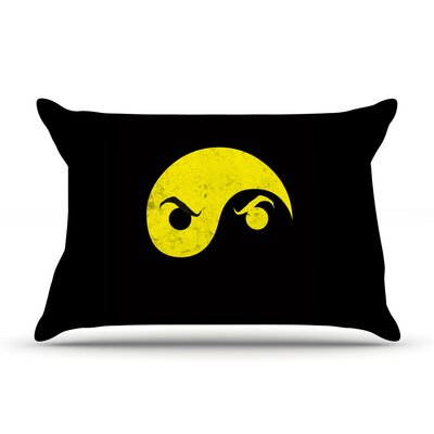 Yin Yang Ninja by Frederic Levy-Hadida Featherweight Pillow Sham Size: Queen, Fabric: Woven Polyester