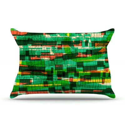 Frederic Levy-Hadida Squares Traffic Green Pillow Case Color: Green