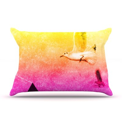 Seagulls in Shiny Sky by Frederic Levy-Hadida Featherweight Pillow Sham Size: Queen, Fabric: Woven Polyester