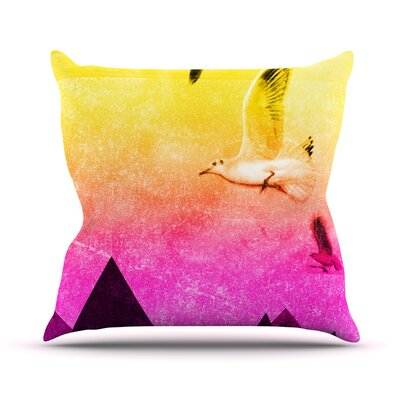 Seagulls in Shiny Sky Throw Pillow Size: 26 H x 26 W x 1 D