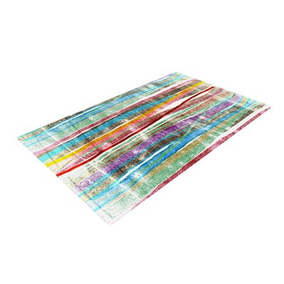 Frederic Levy Hadida Fancy Stripes Light Blue/Red Area Rug Rug Size: 2 x 3