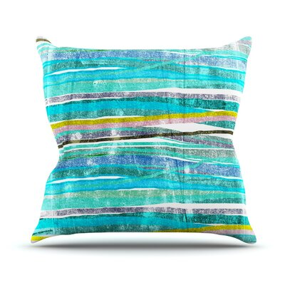 Fancy Stripes by Frederic Levy-Hadida Throw Pillow Size: 18 H x 18 W x 1 D, Color: Aqua