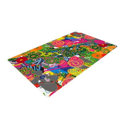 Frederic Levy-Hadida Psychedelic Garden Green/Pink/Gray Area Rug Rug Size: Rectangle 4 x 6