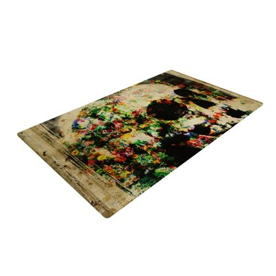 Frederic Levy-Hadida Floral Skully Beige/Green Area Rug Rug Size: 2 x 3