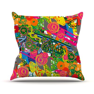 Psychedelic Garden Throw Pillow Size: 18 H x 18 W x 1 D