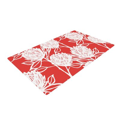 Gill Eggleston Protea Strawberry Flowers Red/White Area Rug