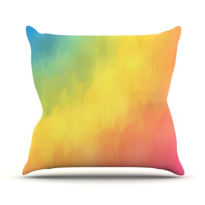 Watercolor Layers by Fotios Pavlopoulos Rainbow Throw Pillow Size: 16 H x 16 W x 1 D