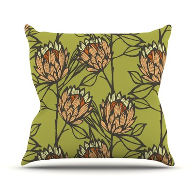 Protea Graphite Flowers Throw Pillow Size: 16 H x 16 W x 1 D, Color: Olive/Orange