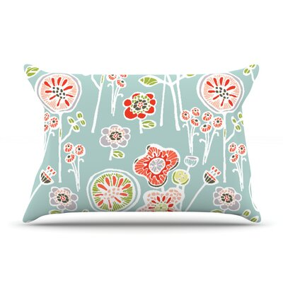 Folky Floral by Gill Eggleston Pillow Sham Size: Queen, Color: Blue/Teal, Fabric: Woven Polyester