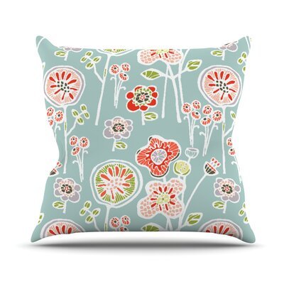 Folky Floral Throw Pillow Size: 26 H x 26 W, Color: Blue