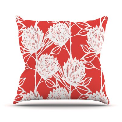 Protea Graphite Flowers Throw Pillow Size: 16 H x 16 W x 1 D, Color: Strawberry/White